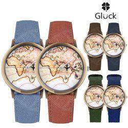 [Gluck]글륵 세계지도 손목시계 지도시계 MW73 시리즈