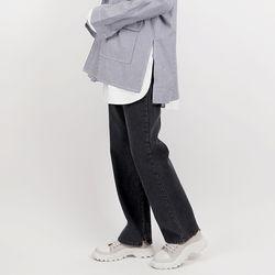 Hyoji semi-wide tim jeans (cloudy black)