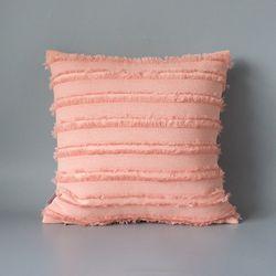 라인 프린지 쿠션커버 (핑크)
