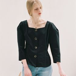 BUTTON DART BLOUSE BLACK