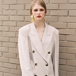 PINSTRIPE DOUBLE JACKET BEIGE