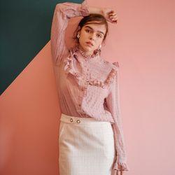 Shirring Ruffle Blouse (Pink)