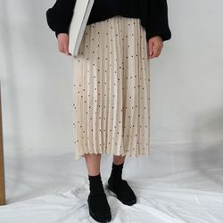 Dot banding long skirt