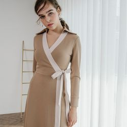 Midi Wrap Dress (Beige)