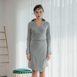 Dot Shirring Dress (Grey)