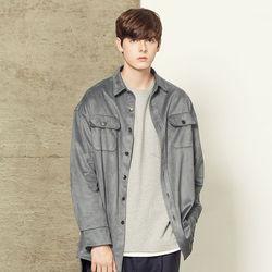 스웨이드 오버핏 셔츠 자켓