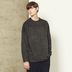 스웨이드 오버핏 풀오버 티셔츠