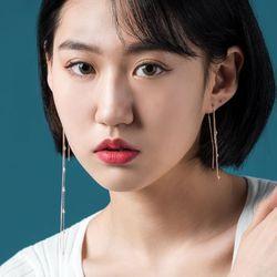 [14k]미가공 천연롱진주 귀걸이 딥틴트