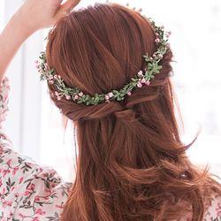셀프웨딩 핑크로즈 꽃 화관 웨딩헤어밴드