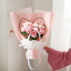 피치핑크로즈 하트 사탕꽃다발