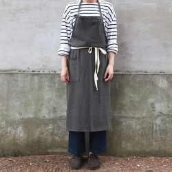 french linen apron [chacoal gray]