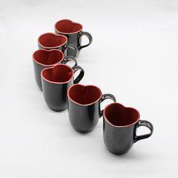 달소금 귀여운 도자기잔 커플 하트머그컵