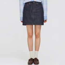 mini dark denim skirt (s m)