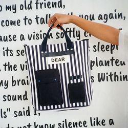 BLANK POCKET CROSS BAG (stripe)