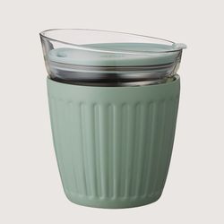 [DOSHISHA] 더블월 보온보냉 글라스 라떼컵 올리브