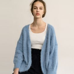 KNIT CURLY CARDIGAN (LIGHT BLUE)