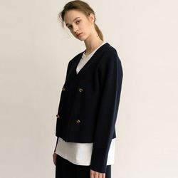DOUBLE V NECK CARDIGAN (NAVY)