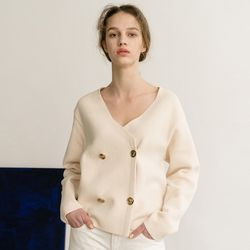 DOUBLE V NECK CARDIGAN (CREAM)