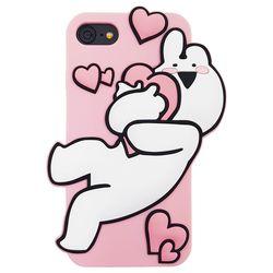 아이폰6 6S 오버액션토끼 실리콘케이스 - 하트핑크