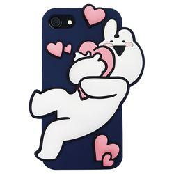 아이폰6 6S 오버액션토끼 실리콘케이스 - 하트네이비