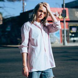 18ss 플루크 스트라이프 셔츠 FLS018C802 핑크