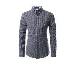[쿨룩] 남성 슬림핏 체크패턴 긴팔 셔츠 ALLS521