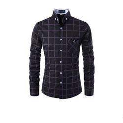 [쿨룩] 남성 체크무늬 포켓 긴팔 셔츠 ALLS518