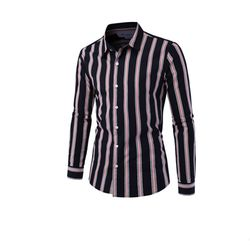 [쿨룩] 남성 배색 스트라이프 긴팔 셔츠 DMLS26