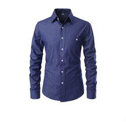 [쿨룩] 남성 슬림핏 포켓 데님 긴팔 셔츠 ALLS523