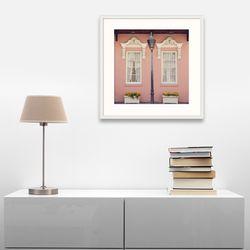 따뜻한 외국 감성 사진 핑크 건물 그림 액자