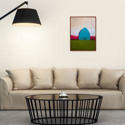봄맞이 따뜻한 집 그림 액자 블루 그린 핑크