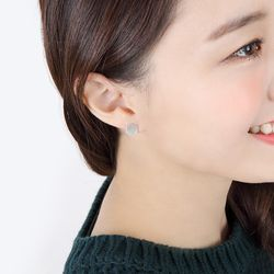 Hexagon Disk Silver Earring(각인X)
