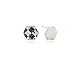 Hexagon Disk Silver Earring(각인가능)