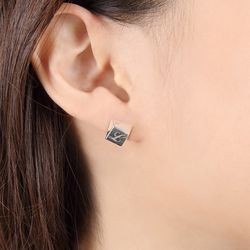 Square Engraving Silver Earring(각인X)
