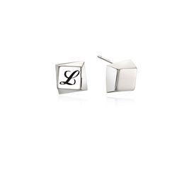 Square Engraving Silver Earring(각인가능)