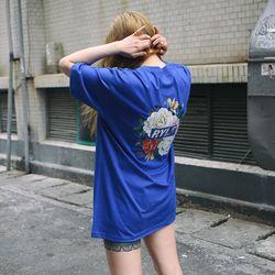 RL214 로즈 박스 로고 반팔 - 블루