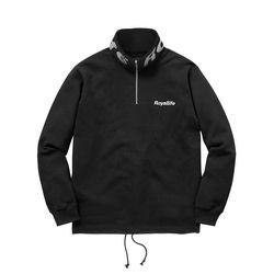 RLCN200 로얄라이프 로고 하프집업 스웨트셔츠 - 블랙