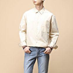 [매트블랙] 코튼 워싱 오버 셔츠