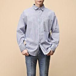 [매트블랙] 언발 스트라이프 고인찌 셔츠
