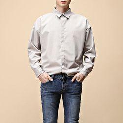 [매트블랙] 잔체크 루즈 히든 셔츠