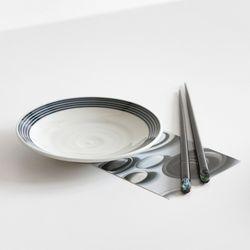 블루 스트라이프 접시 2size -S