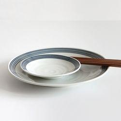 블루 스트라이프 접시 2size -L