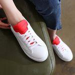 여성 3cm 배색 포인트 소가죽 스니커즈 G6878