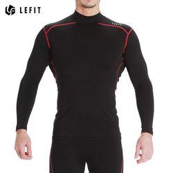 LeFit 남성 하이넥 긴팔 티셔츠BLACKRED