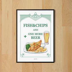 유니크 디자인 포스터 M 피시앤칩스 맥주 A3(중형)
