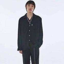 UNISEX Open Collar Neck Shirt MRT004 (Black)