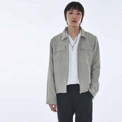UNISEX Sleeve Zipper suede Jacket MRO008 (Grey)