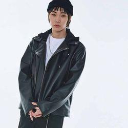 UNISEX Hoodie Leather Jacket MRO002 (Black)