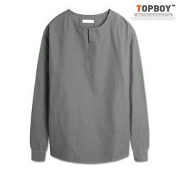 [탑보이] 모던감성 기본핏 넥라인 트임 셔츠 (NT006)