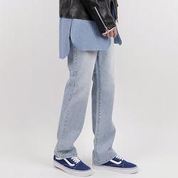 Hyoji straight-fit semi wide jeans (light blue)